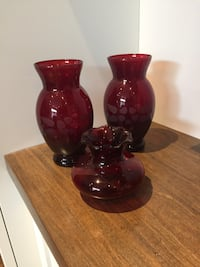 Red glass vase decor
