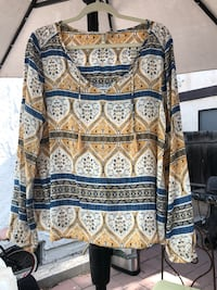 white, blue, and black tribal print sweater Hermosa Beach, 90254