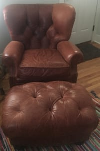 Brown Leather chair and Ottoman LANSDALE