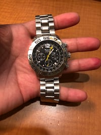 Round black chronograph watch with silver link bracelet Frederick, 21703