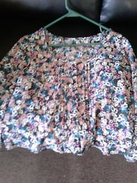 multicolored floral long-sleeved shirt