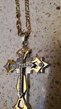 Gold filled chain and Rhodium  electro plated cross w/Crystals
