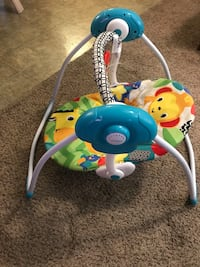 baby's white and blue Fisher-Price bouncer North Port, 34288