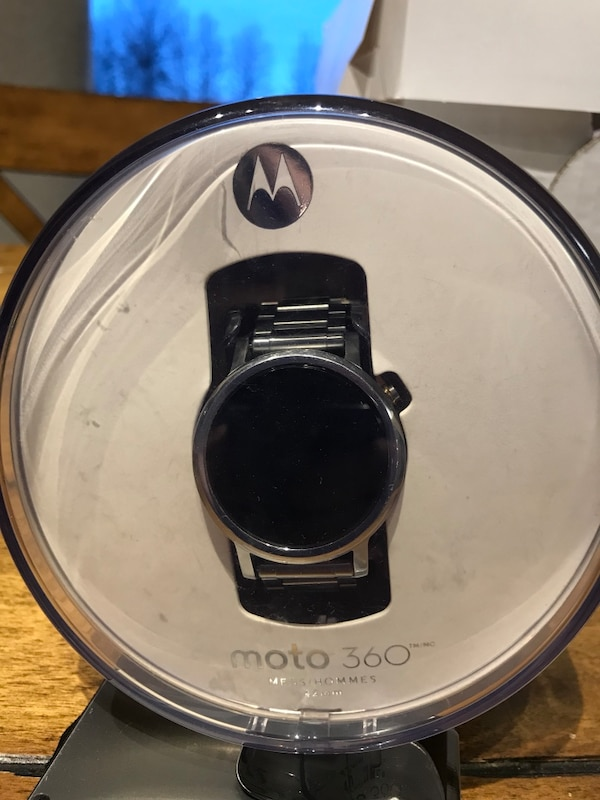 black Motorola Moto 360 with box