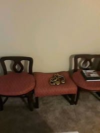 two brown wooden framed red padded armchairs Capitol Heights, 20743