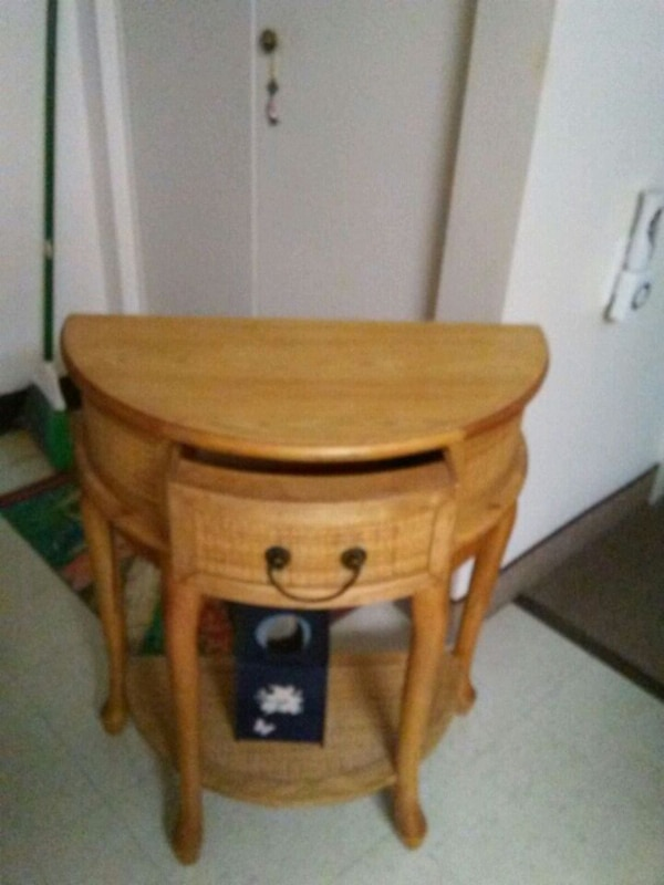 brown wooden single draw side table