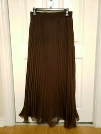Medium Brown accordion modest long maxi skirt Vaughan, L4K