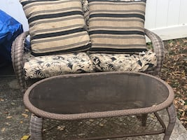 Patio furniture set and matching table