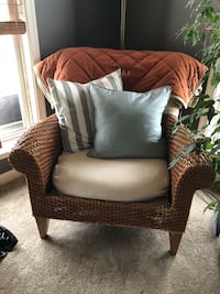Wicker Ethan Allen chairs. Puppy chewing damage on both. Will need to purchase new cushions. Very sturdy. 2 chairs for $500 total. Sterling, 20166