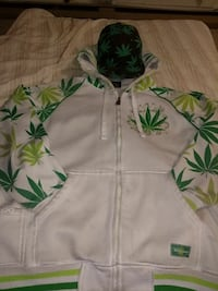 white and green cannabis leaf print pullover hoodi