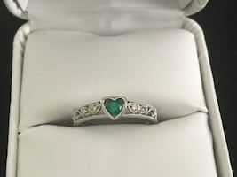 May birthstone 10kt gold heart with emerald and diamonds ring