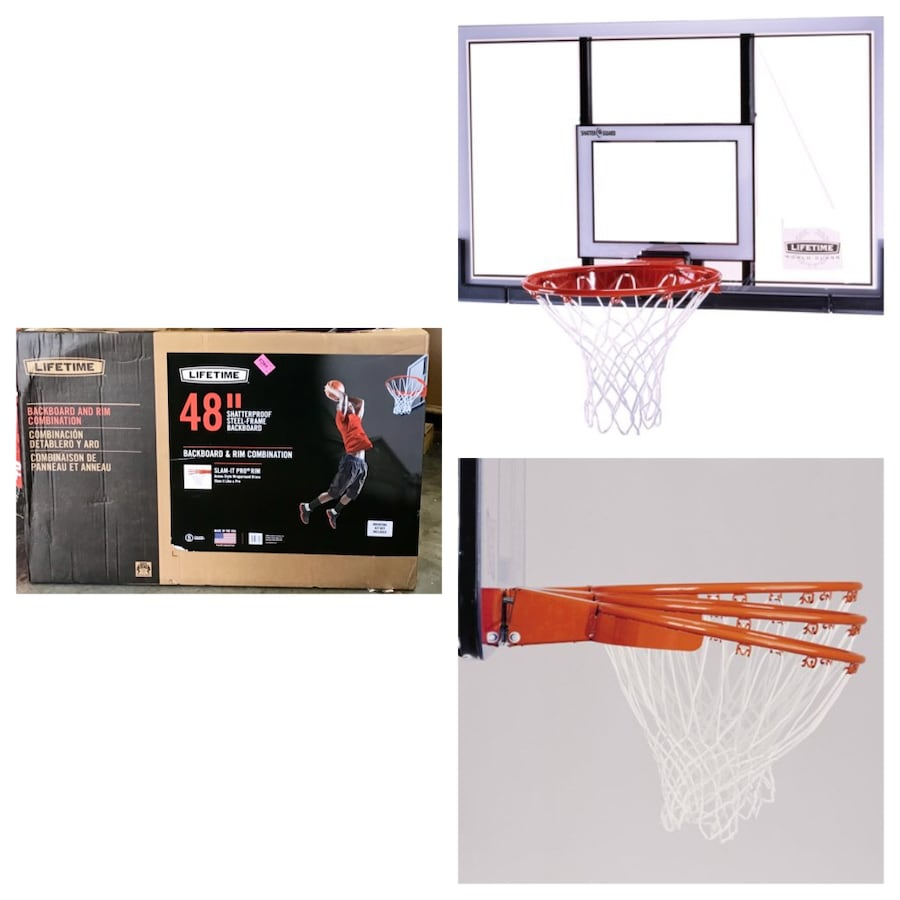 "Lifetime 48"" Shatterproof Backboard and Rim Basketball Combo, 73729"