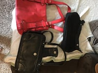 two black and one red leather shoulder bags Bellevue, 68157