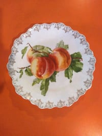 Antique Gold-Embroidered Peach Plate Reading