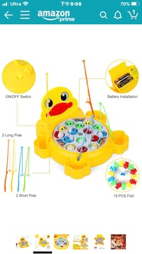 Fishing Game Electric Rotating Board Games with Colorful Fish and Pole