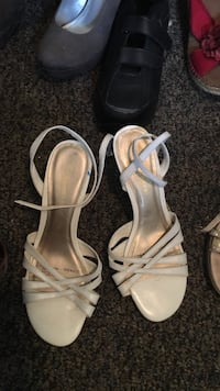 Pair of white leather open-toe ankle strap heels Carrollton, 30117