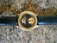 round gold-colored analog watch with black leather Harriman, 37748