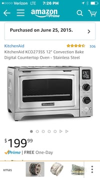 "KitchenAid KCO273SS 12"" Convection Bake Digital Countertop Oven - Stainless Steel  1 year old works perfect clean barely used Oakland, 94619"