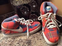 Nike red, blue, & white plaid high top sneaker