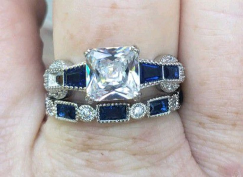 Sterling silver white and blue sapphire set 97fe32c6-aa94-43d0-8af9-dfcb1d4e5f07