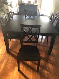 Adjustable  black wooden table with five chairs   Frederick, 21703