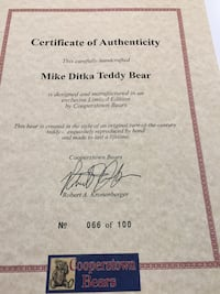 Mike Ditka autographed collector bear.   #66 of 100 Joliet, 60431