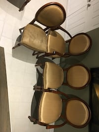brown wooden framed brown padded armchairs Mississauga, L4Z 4H2