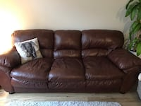 Brown leather couch Fairfax
