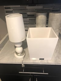 White modern bathroom garbage can and white lamp Melrose Park, 60160