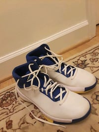 pair of white-and-blue Nike basketball shoes 56 km