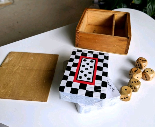 Cards and dice in vintage wooden box 2