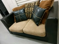 Two piece brown and black suede loveseat Hyattsville, 20785
