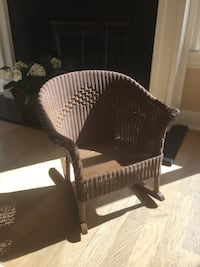 """Wicker Rocking Chair, painted brown, 20""""W, 21""""H, seat 12""""x11"""" deep Thousand Oaks, 91362"""