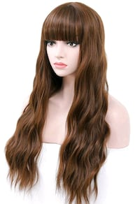 Brown Synthetic Wig Women Cosplay Wig with Bangs 26 inch Long Wavy Cur