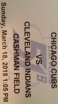 Chicago Cubs VS Cleaveland Indians ticket