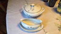 White ceramic casserole; white ceramic bowl with plate.  Amcrest fine china, excellent condition for both Burnaby, V5G 3B6