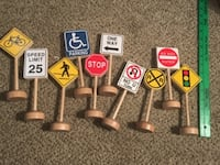 Small Wooden Traffic Signs for Block Play