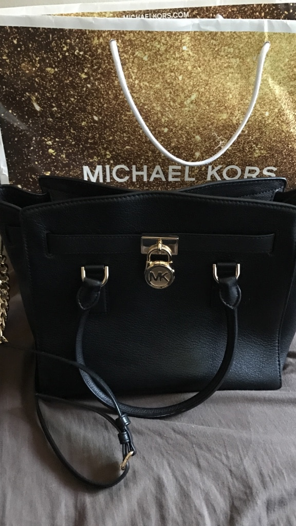 black leather Michael Kors two way tote bag