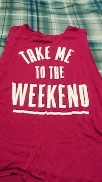 red and white Take Me To The Weekend print tank top Logansport, 46947