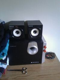 black and gray multimedia speaker system Toronto, M1R 2X1