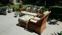 brown wooden framed beige padded sofa set Fountain Valley, 92708