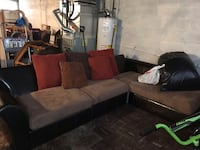Leatherette Sectional with Red, Tan and Brown Pillows/Cushions Towson, 21286