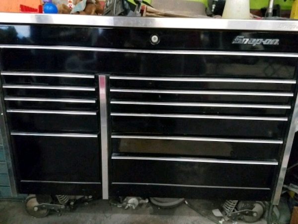 black Snap-on wheeled tool chest