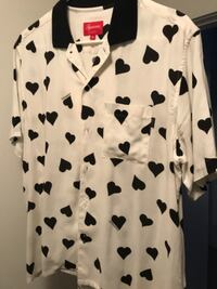 Women's white and black heart printed button-up shirt