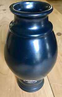 "Harris Potteries 9"" Blue-Black Vase - Made In Chicago, IL Hagerstown"