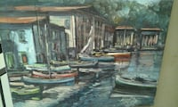 Barche in canal painting Portici, 80055