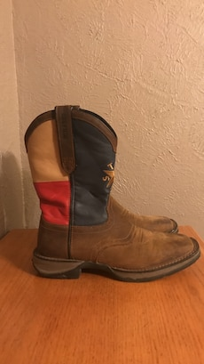 brown-blue-red cowboy boots