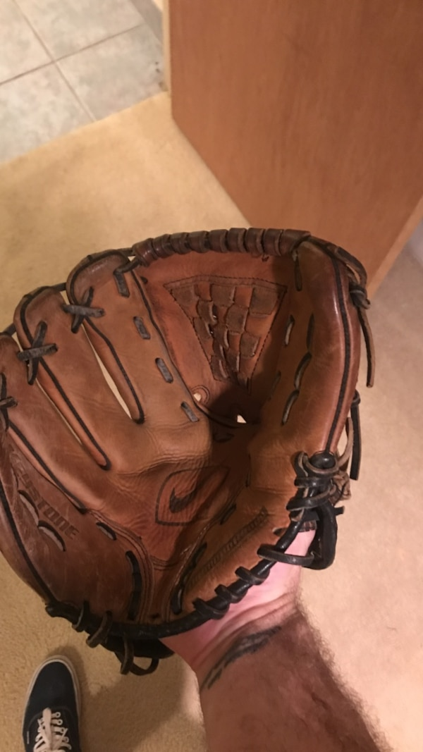 Brown leather baseball glove