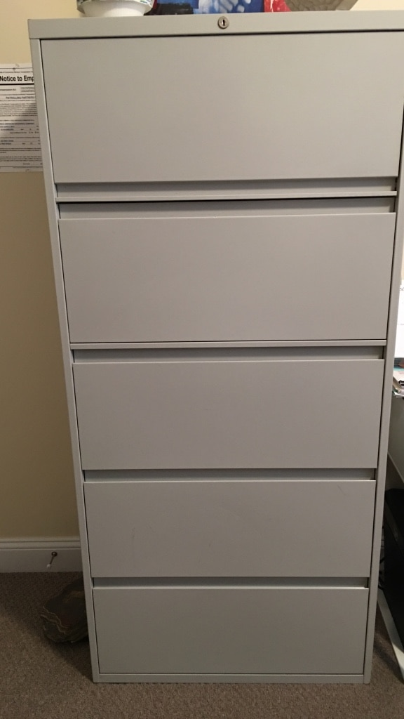 Five Drawer Locking File Cabinet. Mint Condition. Free Delivery