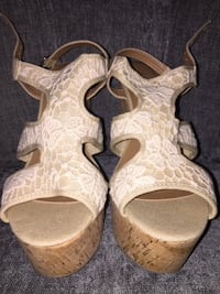 Ivory lace cork wedges  Langley